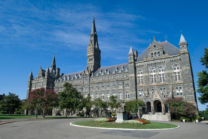 """""""Washington, USA - July 27, 2011: Front courtyard and main entrance to Healy Hall at the university in Georgetown, Washington"""