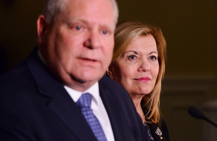 Ontario Premier Doug Ford and Health Minister Christine Elliott speak to reporters in Ottawa on March 12, 2020.
