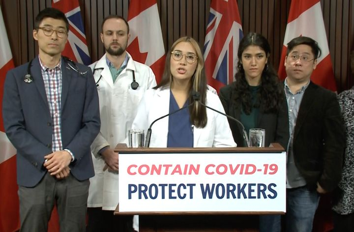 Carolina Jimenez of the Decent Work & Health Network speaks to media at Queen's Park on March 12, 2020.