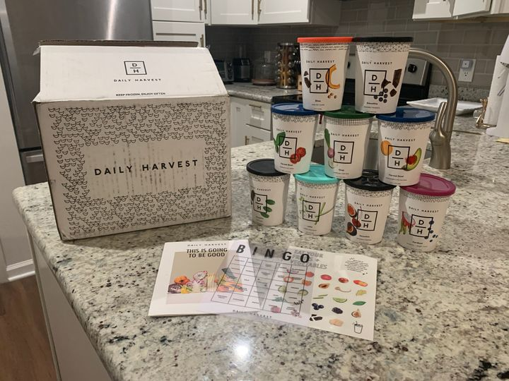 Danielle's trial Daily Harvest box. She received nine recipes, including a mix of soups, bowls, smoothies, bites and lattes.
