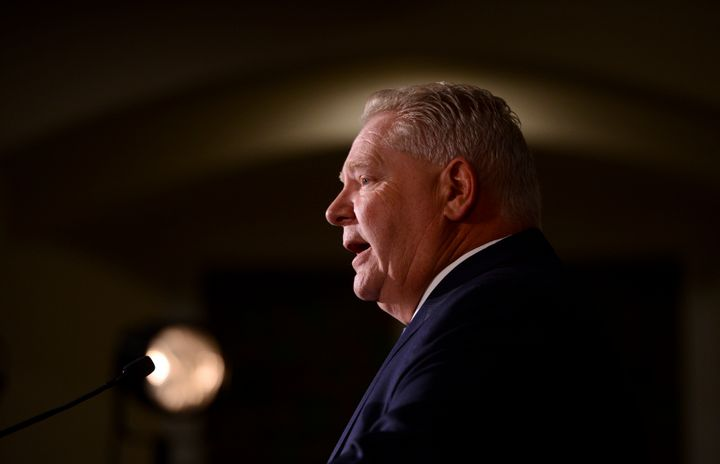 Ontario Premier Doug Ford holds a media availability in Ottawa on March 12, 2020.