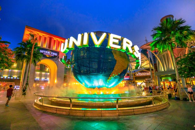 In this May 2, 2018, file photo, a giant Universal globe is seen outside Universal Studios