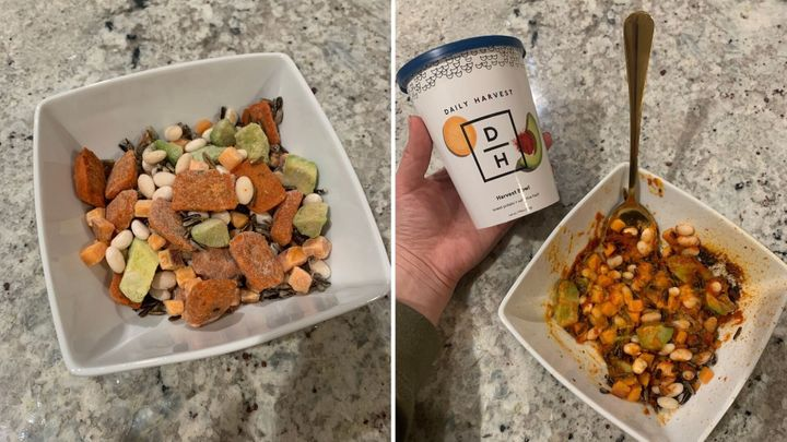 """The first Daily Harvest recipe Danielle tried was&nbsp;the <a href=""""https://go.skimresources.com?id=38395X987171&amp;xs=1&amp;url=https%3A%2F%2Fwww.daily-harvest.com%2Fbrowse%2Fharvest-bowls%2Fsweet-potato-wild-rice-hash%3Futm_source%3Dsponsored_content%26utm_medium%3Dcpc%26utm_campaign%3Dhuffpost%26utm_content%3Dhuffpost%26utm_term%3Deditorial%26coupon_code%3Dhuffpost25"""" target=""""_blank"""" rel=""""noopener noreferrer"""">Sweet Potato + Wild Rice Hash Harvest Bowl</a>&nbsp;(pictured). According to the author, she overcooked it slightly but regardless, """"this was probably one of my favorite foods from my Daily Harvest test run.""""&nbsp;"""