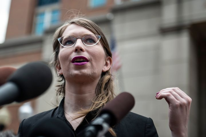 Former military intelligence analyst Chelsea Manning speaks to the press in Alexandria, Virginia, on May 16, 2019.