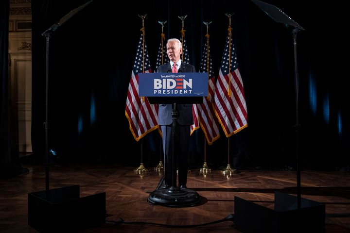 Democratic presidential candidate Joe Biden delivers remarks about the coronavirus pandemic at the Hotel Du Pont on March 12,
