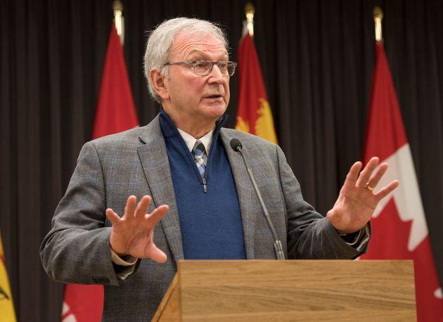 New Brunswick Premier Blaine Higgs speaks with the media on Feb. 17,