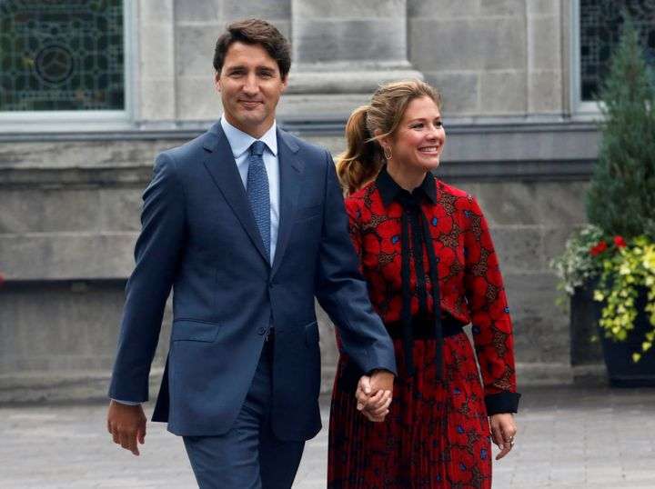 Prime Minister Justin Trudeau and his wife Sophie Gregoire Trudeau leave Rideau Hall in Ottawa on Sept. 11, 2019.