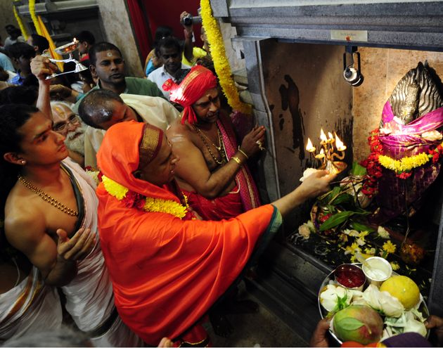 A ceremony takes place inside the Hindu Temple Society of North America in Queens, New York, on July...