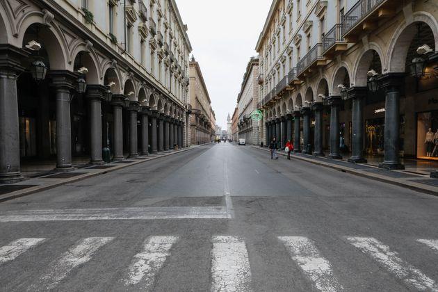 La Via Roma, en Turín (Italia), el 12 de marzo de