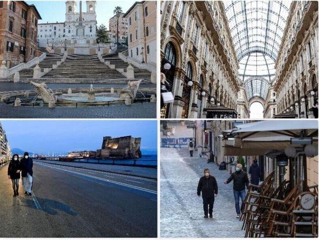 De arriba abajo y de izquierda a derecha: la plaza de España en Roma, la Galería Vittorio...