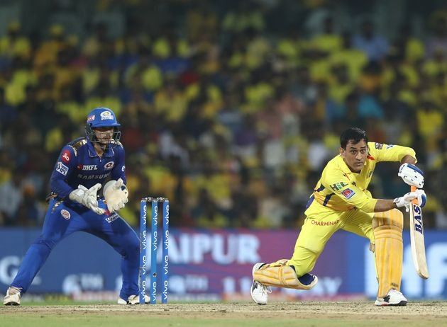 MS Dhoni bats during the India Premier League Qualifier Final match between Mumbai Indians and Chennai...