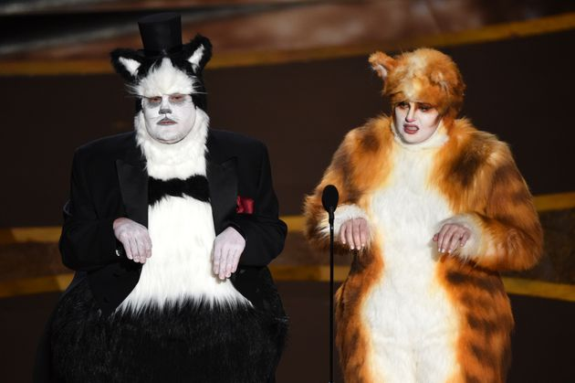 James Corden, left, and Rebel Wilson at the