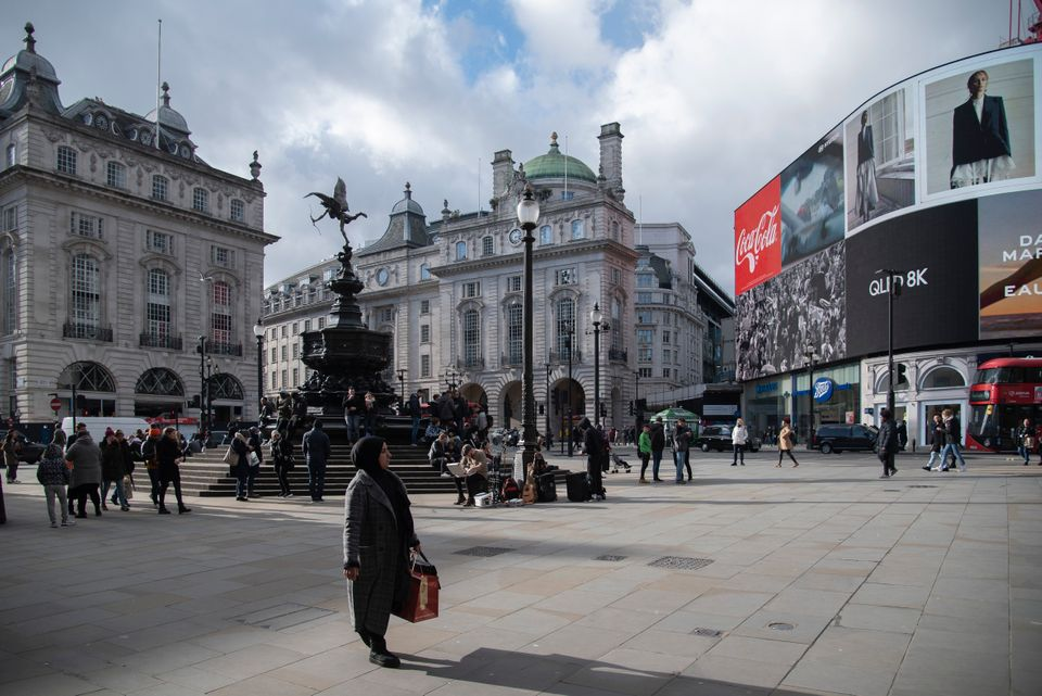 A visibly quiet Piccadilly Circus.