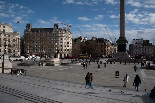 Trafalgar Square has been left noticeably quiet as the UK government stepped up its response to the 'delay' phase.