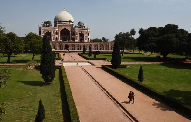 The usually crowded pathways of the front lawns of Humayuns Tomb seen deserted owing to people keeping away amid the coronavirus outbreak