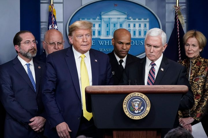 President Donald Trump, Vice President Mike Pence and other administration officials hold a press briefing March 9 with members of the White House Coronavirus Task Force team.
