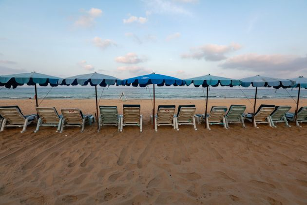 Empty chairs are seen on a beach which is usually full of tourists, amid fear of coronavirus in Phuket.