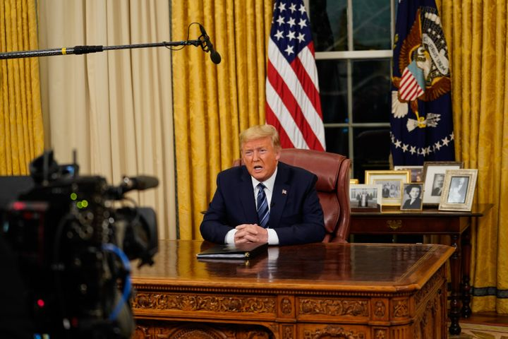 Trump addresses the nation from the Oval Office about the widening coronavirus crisis on March 11.