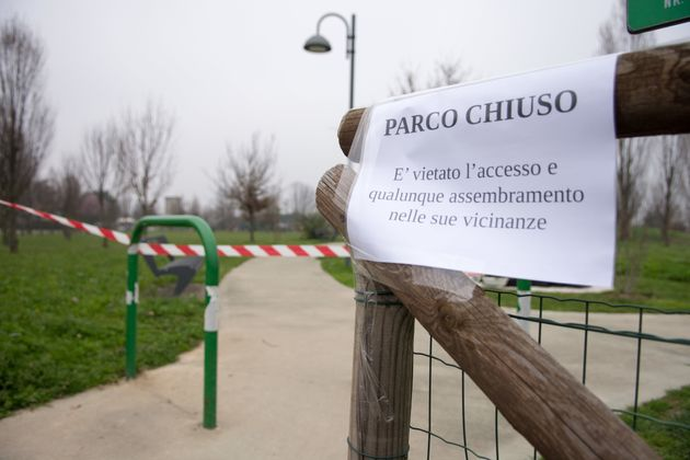 A view of a park in Padova, Italy on March 13, 2020. Ordinance of the mayors to close the parks to stem...
