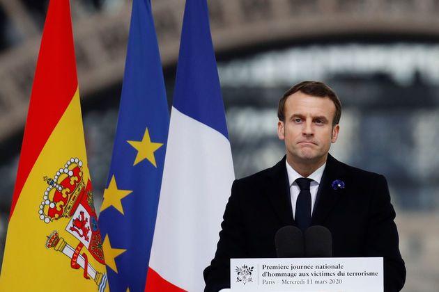 Emmanuel Macron, ici prononçant un discours lors d'une cérémonie en l'honneur des...