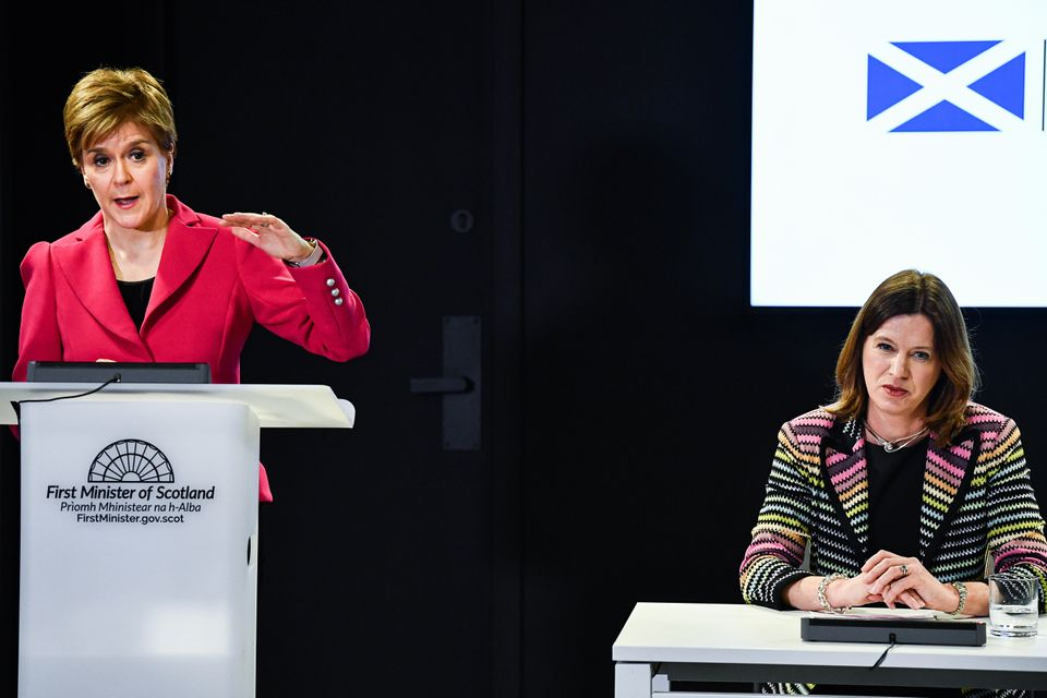 Scotland's first minister Nicola Sturgeon (left) with chief medical officer Dr Catherine Calderwood at...