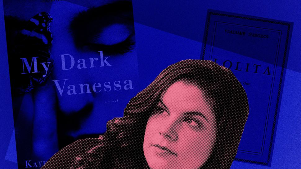 "A photo of author Kate Elizabeth Russell and her novel ""My Dark Vanessa."""