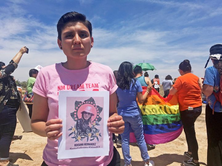 In this 2018 file photo, Gabriela Hernandez, executive director of the nonprofit New Mexico Dream Team, holds up a photo of R