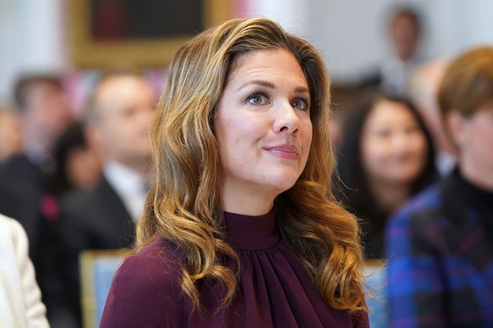 Sophie Gregoire Trudeau, wife of Prime Minister Justin Trudeau, attends a cabinet swearing-in ceremony at Rideau Hall on Nov. 20, 2019 in Ottawa. She was tested positive for COVID-19 on Thursday.