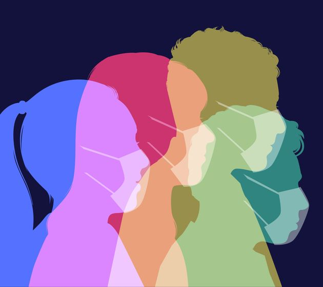 Colourful silhouettes of people wearing protective face masks against