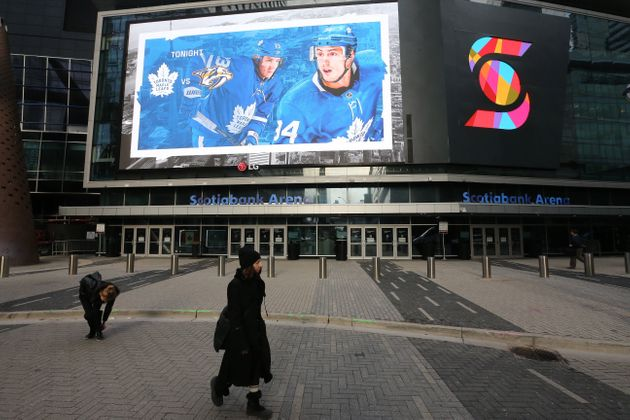 A lonely scene outside Scotiabank Arena after the NHL suspended all games in order to slow the spread...
