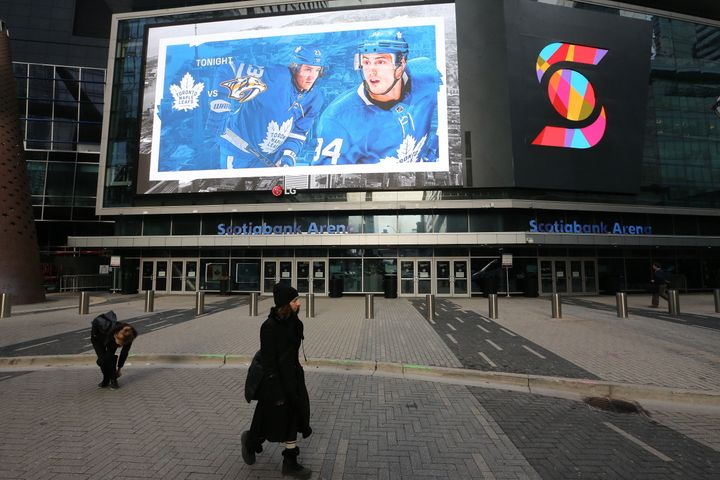 A lonely scene outside Scotiabank Arena after the NHL suspended all games in order to slow the spread of COVID-19 in Toronto, on Thursday, March 12, 2020.
