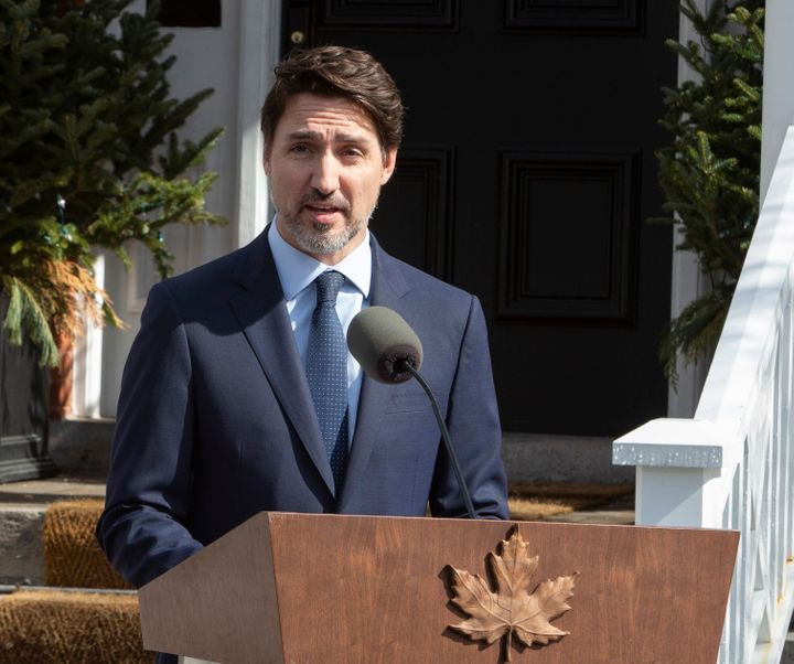 Prime Minister Justin Trudeau gives an update on the government's response to the coronavirus pandemic on March 13, 2020.