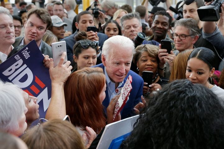 Biden talks with supporters at a campaign rally on March 2, 2020, at Texas Southern University in Houston.