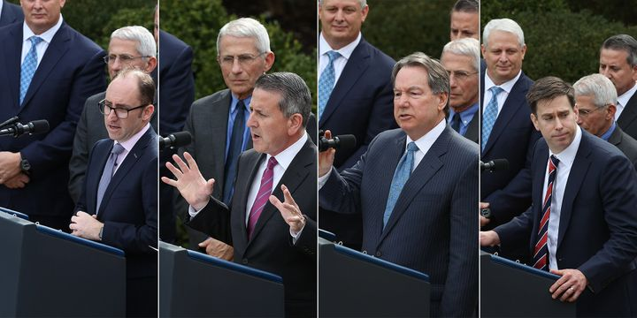A parade of corporate executives spoke at Trump's coronavirus press conference.