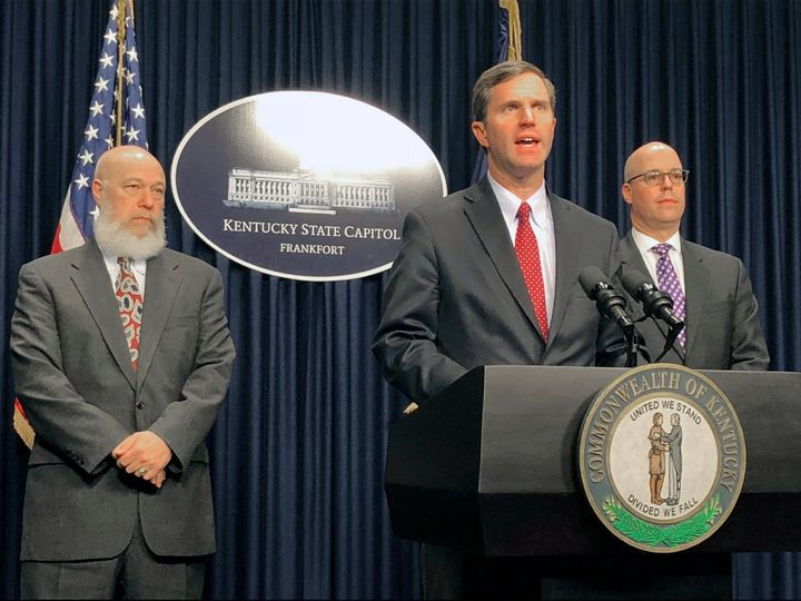 Kentucky Gov. Andy Beshear (D) announces the state's first confirmed case of the new coronavirus at a press conference