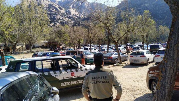 Decenas de coches aparcados en La Pedriza, en la Sierra de Madrid, ignorando la petición de quedarse...