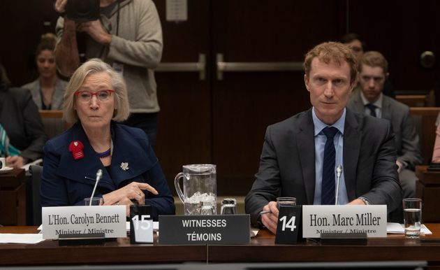Crown-Indigenous Relations Minister Carolyn Bennett and Indigenous Services Minister Marc Miller wait...