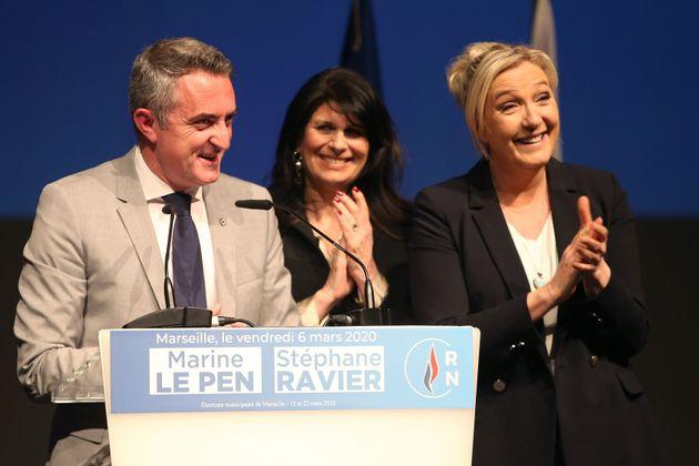 Marine Le Pen lors du meeting de Stéphane Ravier à Marseille le 6