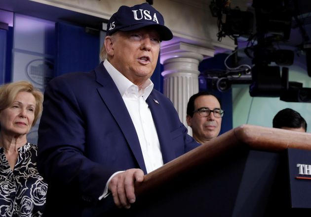 U.S. President Donald Trump speaks at a press briefing with members of the Coronavirus Task Force at...