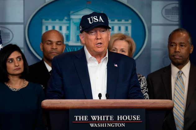 US President Donald Trump gives a press briefing about the coronavirus at the White House in Washington,...
