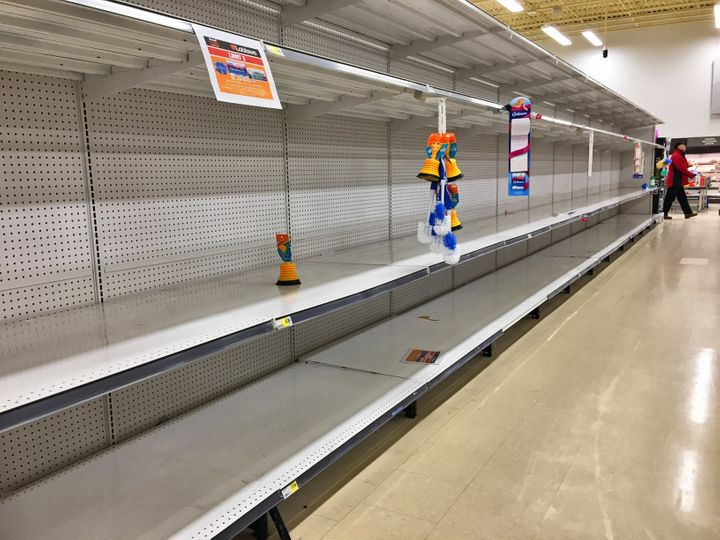Empty shelves at a grocery store on March 13 in Toronto.