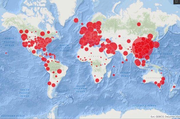 米ジョンズ・ホプキンス大のHPより 「新型コロナウイルス感染マップ」
