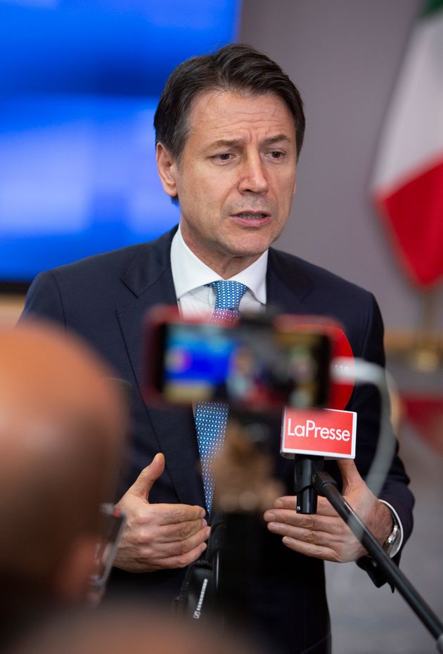 Italian Prime Minister Giuseppe Conte speaks with the media after a meeting with European Council President...