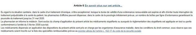 Les pharmacies acceptent les ordonnances périmées dans le cadre d'une maladie chronique, de manière exceptionnelle...