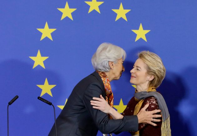 European Central Bank President Christine Lagarde, left, greets European Commission President Ursula...