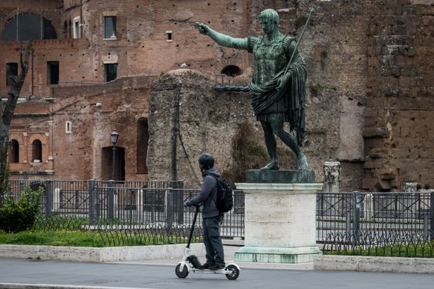 People in the center of Rome, Italy, on March 14, 2020. Italians have been experiencing yet further virus-containment...