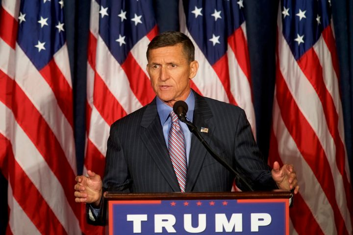 Michael T. Flynn introduces then-Republican presidential nominee Donald Trump in 2016. Flynn went on to become a senior advis