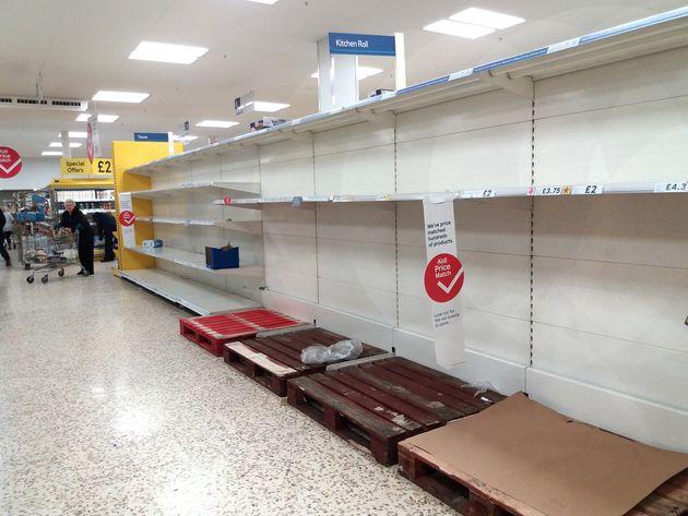 Emptied paracetamol shelves at a supermarket amid coronavirus fears in London.