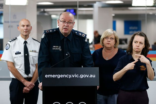 Victoria Police Chief Commissioner Graham Ashton speaks to the media at the State Control Centre on March...
