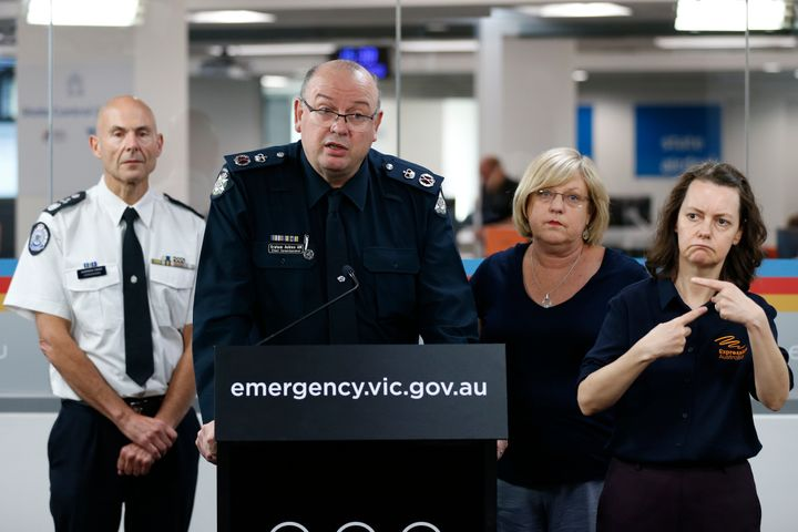 Victoria Police Chief Commissioner Graham Ashton speaks to the media at the State Control Centre on March 16, 2020 in Melbourne, Australia. Victorian cultural spaces will close temporarily to the public from today as a precautionary measure in response to the ongoing coronavirus pandemic. The Victorian Premier Daniel Andrews has also announced a State of Emergency would come into effect at midday, giving the Chief Health Officer powers to enforce 14-day isolation requirements for all travellers entering Australia and cancel mass gatherings of more than 500 people.